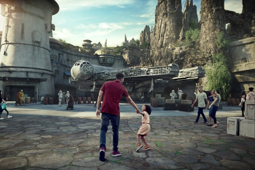 Star Wars: GalaxyÕs Edge will open May 31, 2019, at Disneyland Park in Anaheim, California, and Aug. 29, 2019, at Disney's Hollywood Studios in Lake Buena Vista, Florida. At 14 acres each, Star Wars: GalaxyÕs Edge will be Disney's largest single-themed land expansions ever, transporting guests to live their own Star Wars adventures in Black Spire Outpost, a village on the remote planet of Batuu, full of unique sights, sounds, smells and tastes. Guests can become part of the story as they sample galactic food and beverages, explore an intriguing collection of merchant shops and take the controls of the most famous ship in the galaxy aboard Millennium Falcon: Smugglers Run. (Disney Parks)